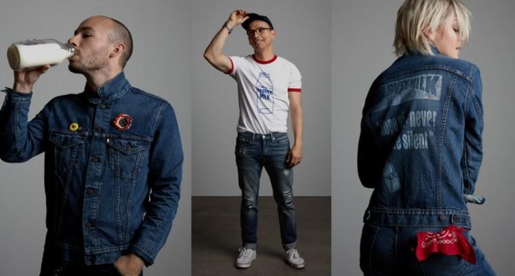 Modelos de jaqueta e camiseta da coleção Global Pride 2016, produzida pela Levi's em parceria com a Fundação Harvey Milk. Crédito: Divulgação