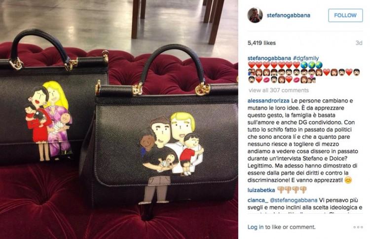 Post do estilista Stefano Gabbana em sua conta do Instagram que divulga a linha de bolsas com famílias formadas por casais homossexuais. Crédito: Reprodução/Instagram